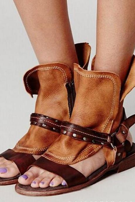 Retro Patchwork Open Toe Cut Out Ankle Boot Flat Beach Sandals