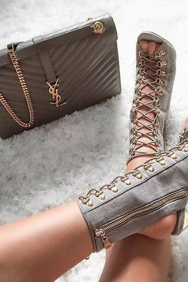 Lace Up Cut Out Side Zipper Stiletto High Heel Ankle Boot Sandals