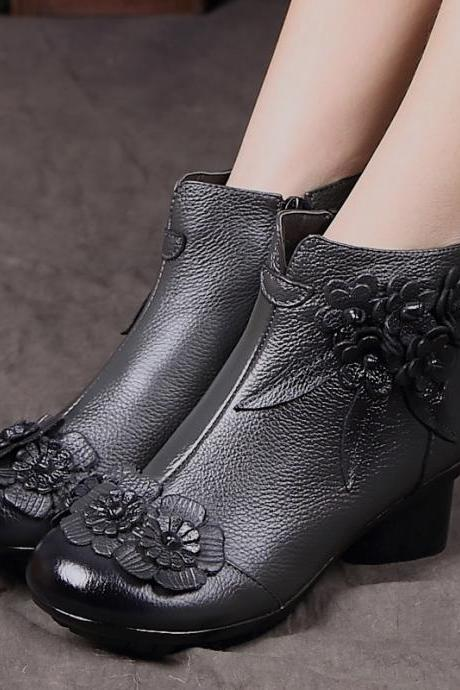 Retro Hand Made Real Leather Low Chunky Heel Ankle Boots