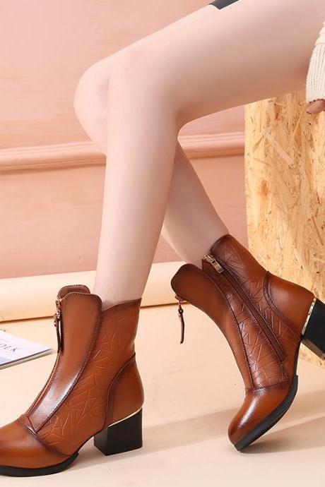 Real Leather Patchwork Middle Chunky Heel Ankle Boots