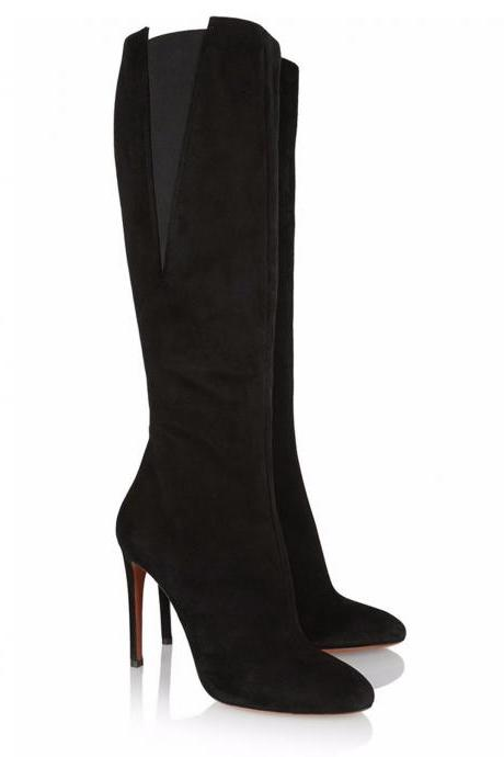 Black Faux Suede Pointed-Toe Knee High Stiletto Heel Boots Featuring Side Zipper