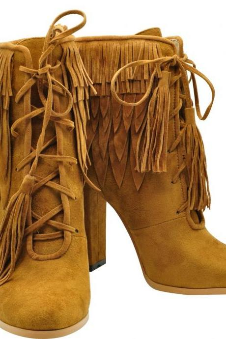 Tassels Pointed Toe High Chunky Heel Ankle Boots