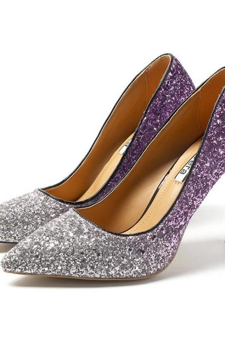 Ombre Glitter Pointed-Toe High Heel Stilettos, Party Heels