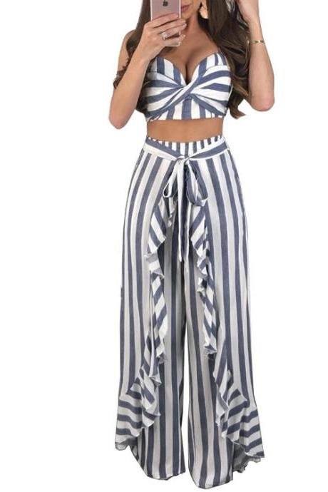 Stripes Spaghetti Cami Top Long Wide-leg Trumpet Pants Two Pieces Set