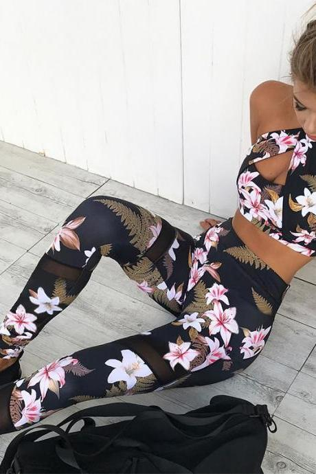 Flower Print Cami High Waist Long Skinny Pants Two Pieces Yoga Sports Clothing Set