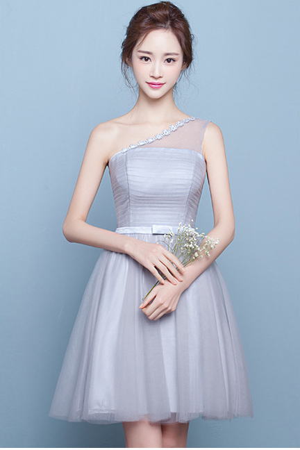 One Shoulder Tulle Pleated High Waist Short Party Bridesmaid Dress