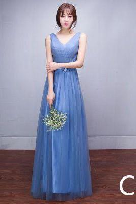 V-neck Pleated Empire High Waist Long Tulle Bridesmaid Party Dress