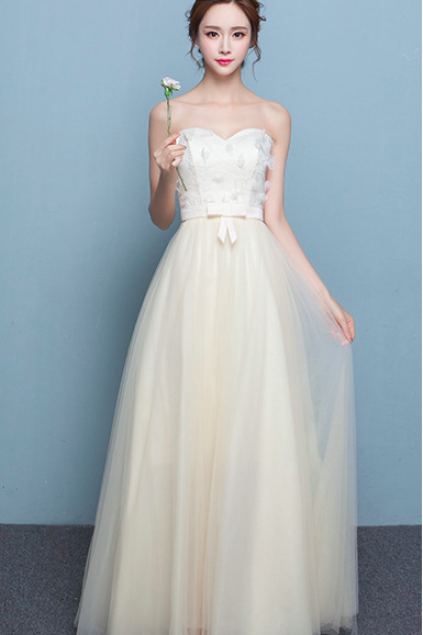 Strapless Flowers Empire Long Tulle Party Bridesmaid Dress