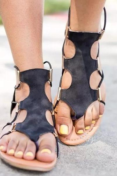 Women Flat Sandals Slip-on Cut Out Solid Color Back Zipper Beach Sandals with Plus Size