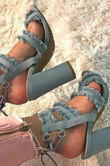 Denim Chunky High Heel Sandals - Peep-toe Ankle Strap High Heel Sandals