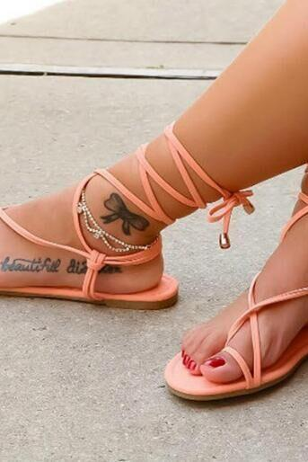 Simple Straps Thong Lace Up Women Flat Beach Sandals