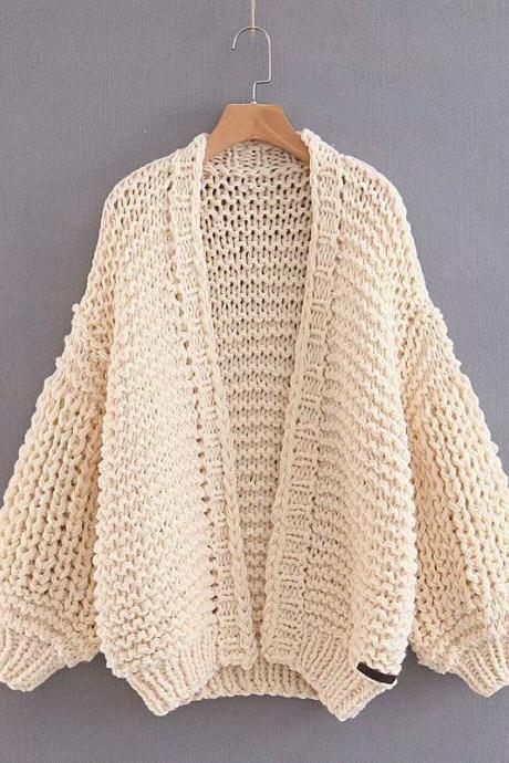 Loose Long Bishop Sleeves Women Hand Knit Chunky Sweater