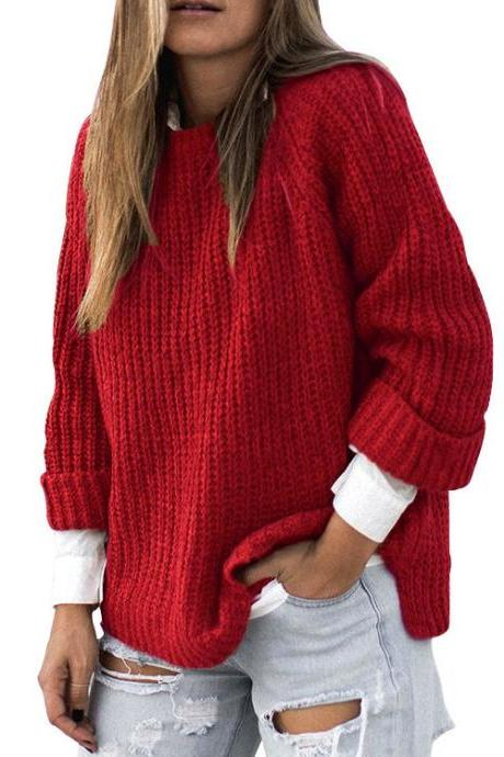 Crew Neck Solid Color Loose Irregular Women Pullover Sweater
