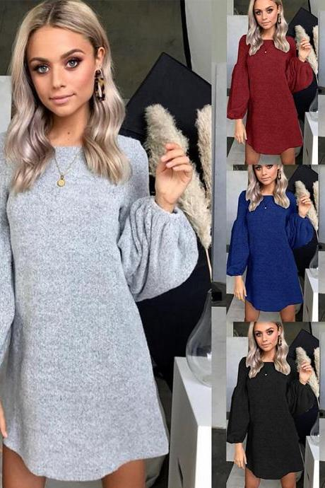 Crew Neck Loose Long Bishop Sleeves Pullover OVersized Sweater Dress