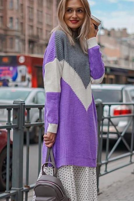 Color Patchwork Crew Neck Loose Oversized Long Sweater Dress