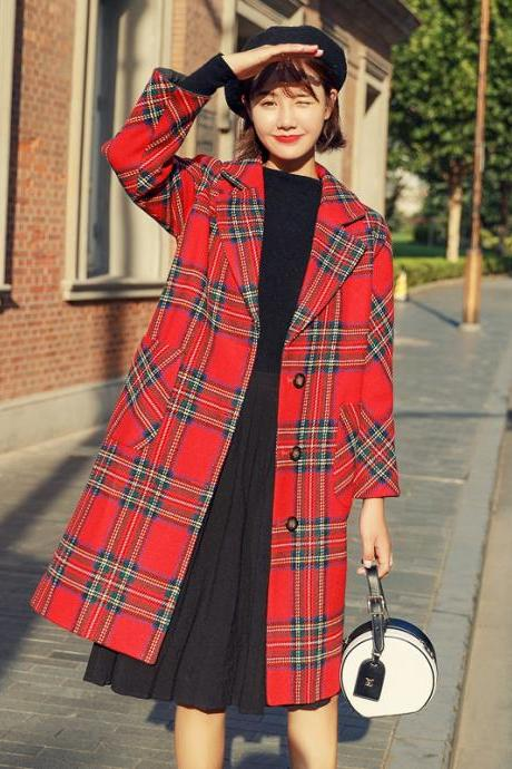 Lapel Collar Plaid Women Oversized Peacoat Coat