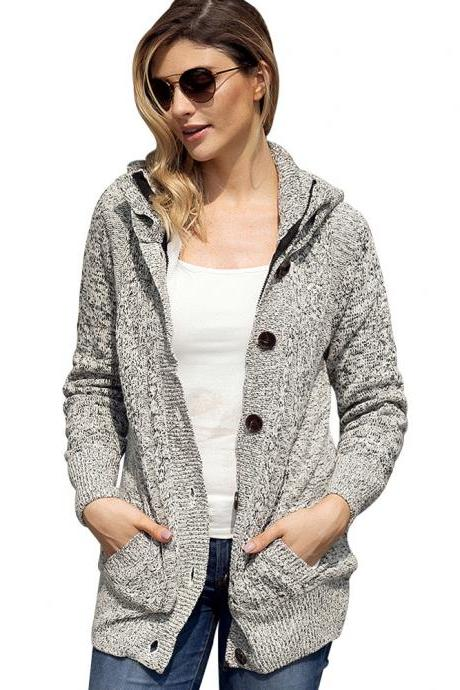 Slim Buttons Pockets Women Hooded Cocoon Long Cardigan