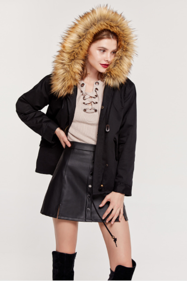 Faux Fur Collar Hooded Women Short Loose Drawstring Coat