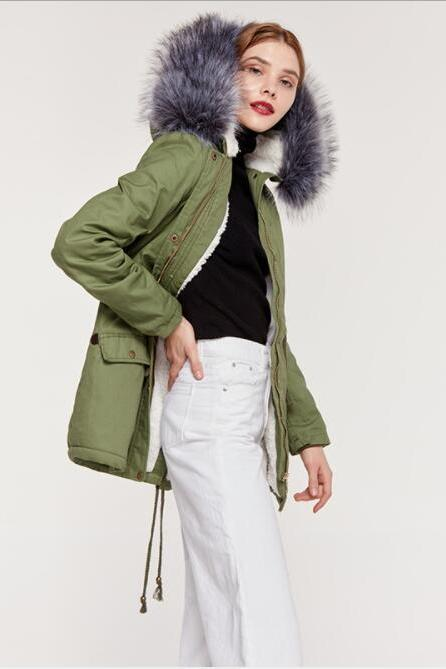 Faux Fur Collar Pockets Drawstring Women Parka Jacket Oversized Coat