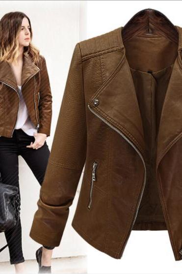 Oblique Zipper Lapel Solid Color Women Slim Short Jacket