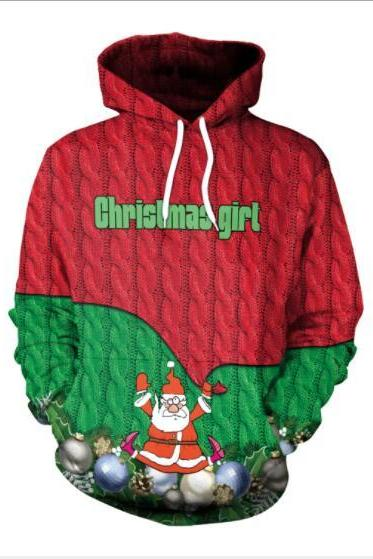 Santa Claus Digital Print Women Drawstring Christmas Party Hoodie