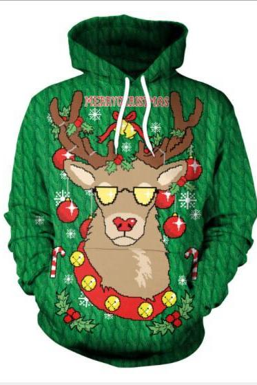 3D Reindeer Digital Print Women Drawstring Pocket Christmas Party Hoodie