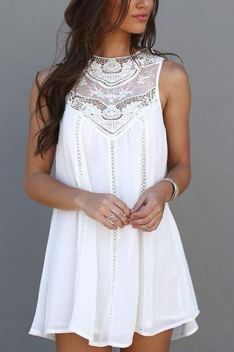 Lace High Waist Mini Loose Dress