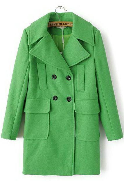 Lapel Double Breast Long Woolen Coat