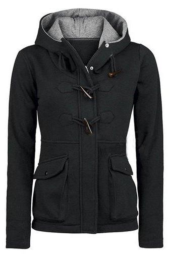 Pocket Horns Deduction Hooded Coat