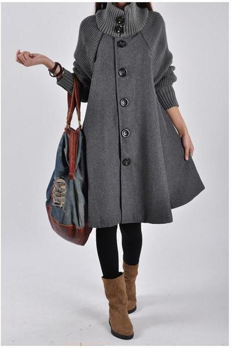 Women Loose Button Splicing Long Coat