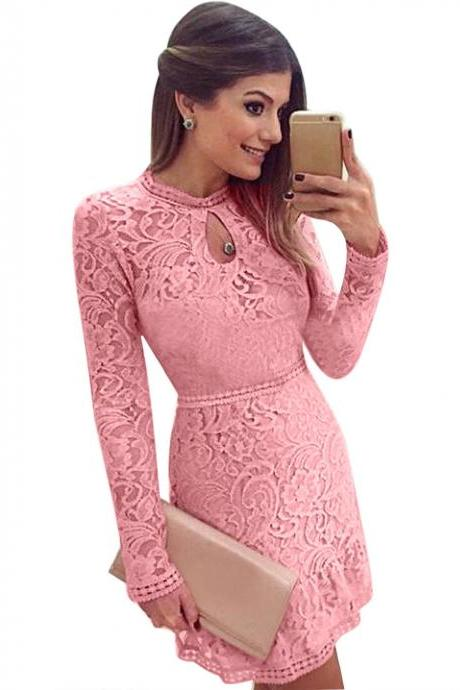 Lace Hollow Out Long Sleeves Mini Party Dress