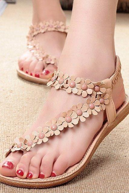Women Bohemia Flower Beads Flip-flop Shoes Flat Sandals
