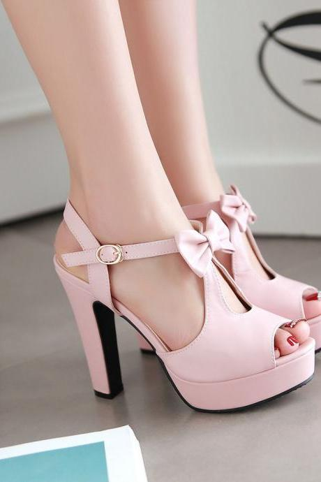 Fashion Street Style Peep Toe Bow High Heel Sandals