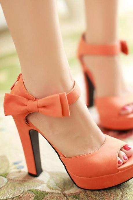 Cute Candy Color Bow Knot Thick Heel Platform Sandals