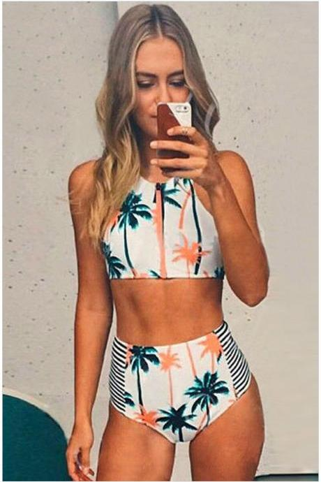 High Waist Flower Print Zipper Bikini Set Swimwear