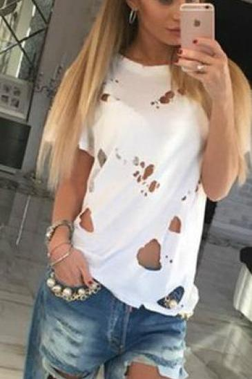 Hollow Out Scoop Short Sleeves Beggar T-shirt