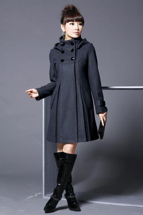 Hooded High Neck Button Slim Long Sleeves Mid-length Coat