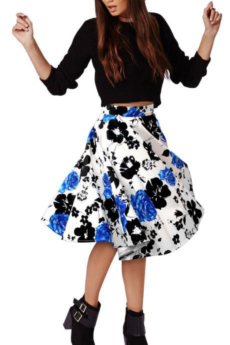 Flower Print A-line Flared Pleated High Waist Knee-length Skirt