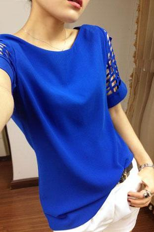 Scoop Short Sleeves Pure Color Casual Plus Size T-shirt