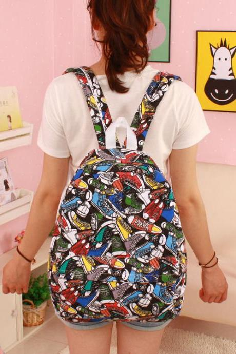 Cartoon Print Canvas Fashion Backpack School Bag