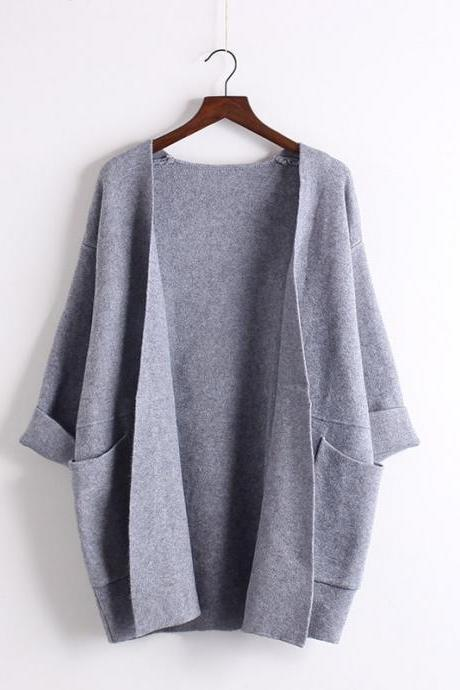 Batwing Sleeve Korean Style Loose Pure Color Sweater
