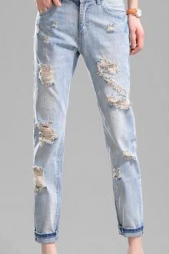 Ripped Holes Beggar Straight Loose High Waist Jeans