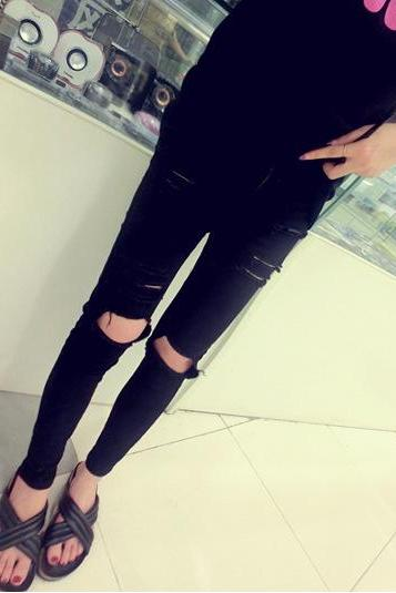 Skinny Slim Hole Ripped Pencil High Waist Jeans