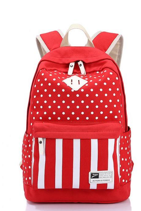 Polka Dot And Strip Print School Backpack Canvas Bag