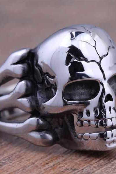 European and American fashion personality skull man domineering titanium ring