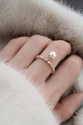 Pearl ball all-match diamond ring
