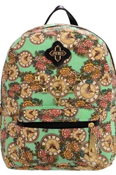 Women Ladies Girls Floral Mini Bookbag Travel Backpack