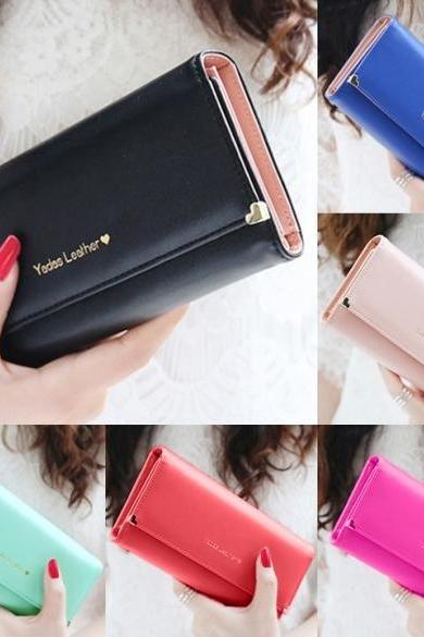 New Fashion Women's Long Wallet Button Clutch Purse Long Handbag