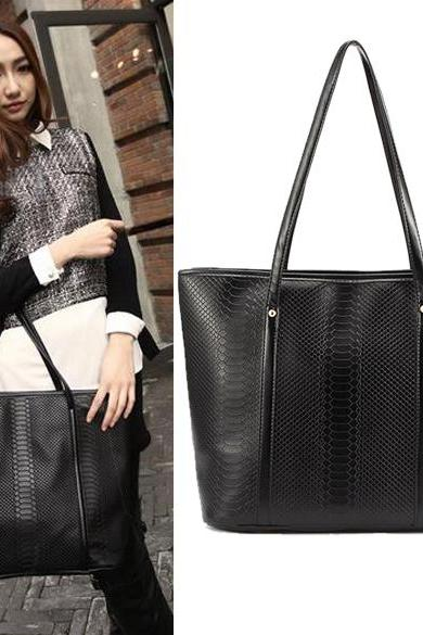Faux Crocodile Leather Tote Bag Featuring Double Handles in Black, Blue or Red