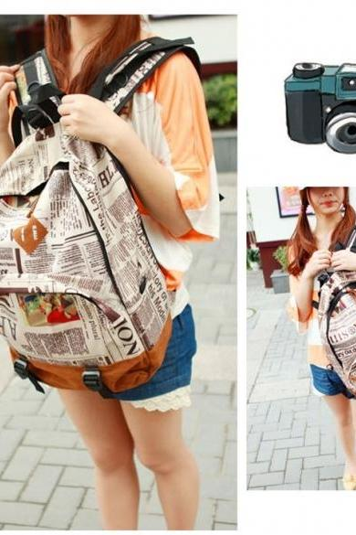 New Fashion Unisex Newspaper Design Print Backpack Schoolbag Shoulder Bag